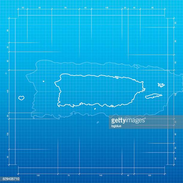 Puerto Rico map on blueprint background