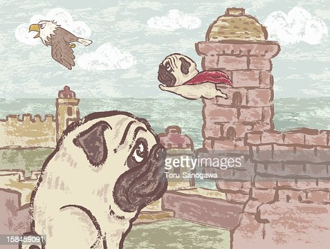 Pug and Eagle : Vector Art