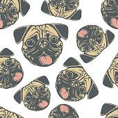 Pug dog vector seamless pattern illustration. Pug dog head isolated. Adorable Chinese pug dog vector character