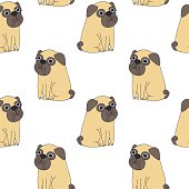 Vector cute pug vector pattern