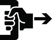 Black vector sign of hand pulling doorhandle