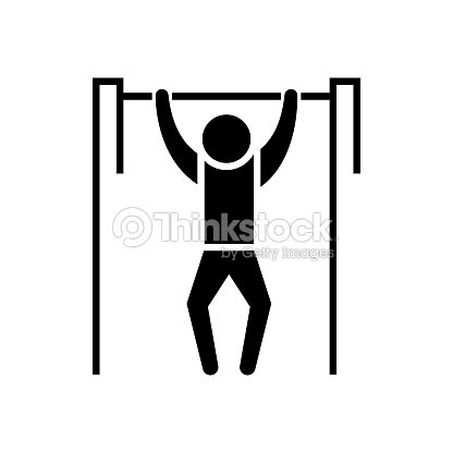 Pull-up - workout - street Exercise icon, vector illustration, black sign on isolated background