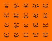 Pumpkin Face flat icons set. Web sign kit jack-o-lantern. Halloween Design pictogram collection animation kit, emotion create. Simple pumpkin face cartoon icon symbol isolated. Vector Illustration