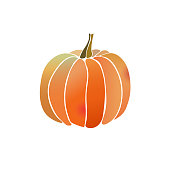 Pumpkin icon gradient watercolor effect simple eps10 vector illustration isolated on white. Autumn seasonal vegetables symbol