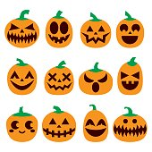 Orange pumpkins with scary faces icons collection, Halloween celebrations