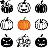 Pumpkin halloween icon collection - vector outline and silhouette