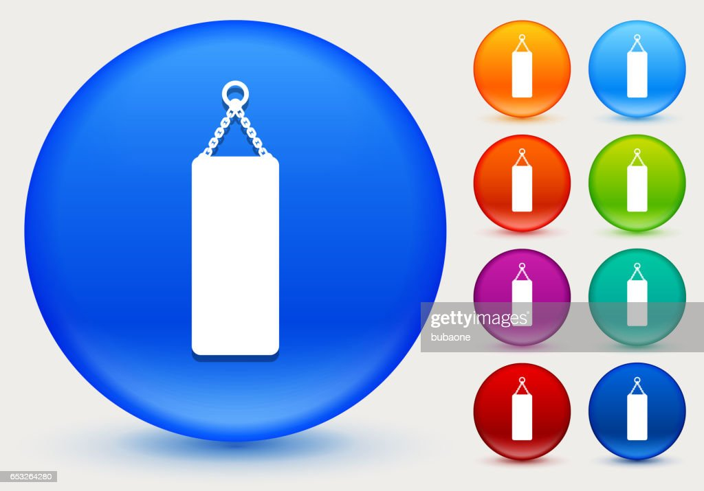 Punching Bag Icon on Shiny Color Circle Buttons : Vector Art
