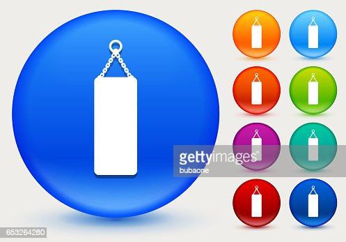 Punching Bag Icon on Shiny Color Circle Buttons : Vectorkunst