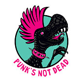 Punk dinosaur with pink haircut. Cartoon character illustration. Isolated vector maskot. Idea for t-shirt print.