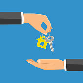 hand giving home keys in the other hand. purchase or rental real estate concept with flat style icon. isolated vector illustration