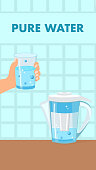 Pure Water Color Vector Flyer, Brochure with Text. Filter Jug on Kitchen Table. Hand Holding Glass of Purified Liquid. Blue Fluid with Bubbles Flat Illustration. Water Treatment Cartoon Poster