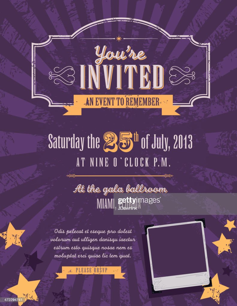 Purple And Yellow Themed Retro Vintage Invitation Design