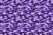 Purple military camouflage horizontal texture. Vector illustration