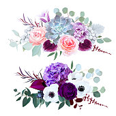 Purple hydrangea, carnation, bell flower, pink rose, anthurium, dark orchid, brunia, white anemone, eucalyptus and greenery vector design horizontal bouquets. Fall wedding. All elements are isolated