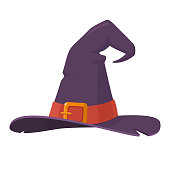 Purple old witch hat isolated on white background. Symbol of witchcraft. Halloween decorative element in flat style. Vector eps 10.