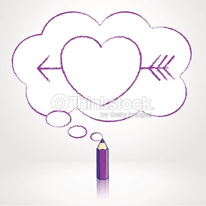 purple pencil drawing arrow through heart in thought cloud bubble