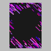 Purple random diagonal rounded stripe pattern brochure template - trendy blank vector stationery background design