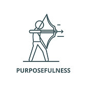 Purposefulness vector line icon, outline concept, linear sign