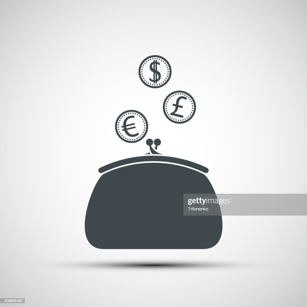 purse with coins : Vector Art