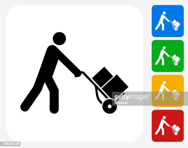 Pushing Luggage Cart Icon Flat Graphic Design