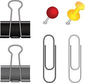 Set of pushpin, binder and paper clip for your design.