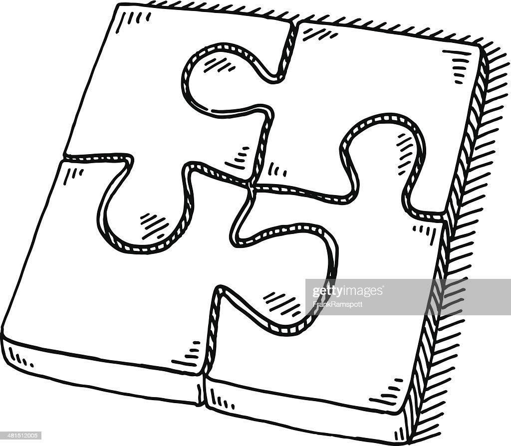 Quatre pi ces de puzzle puzzle dessin clipart vectoriel - Puzzle dessin ...