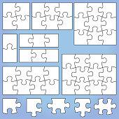 Puzzle set 1 2 3, 4 6 8 9 12 pieces jigsaw vector illustration