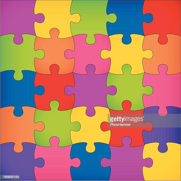 A puzzle square completed in various colors