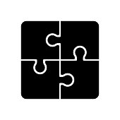 A set of four connected puzzle piece icons in vector format.