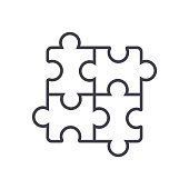 puzzle,jigsaw vector line icon, sign, illustration on white background, editable strokes