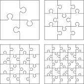 White puzzles. 4, 9, 16 and 25 pieces.