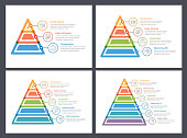 Pyramid infographic templates, 3, 4, 5 and 6 elements, vector eps10 illustration