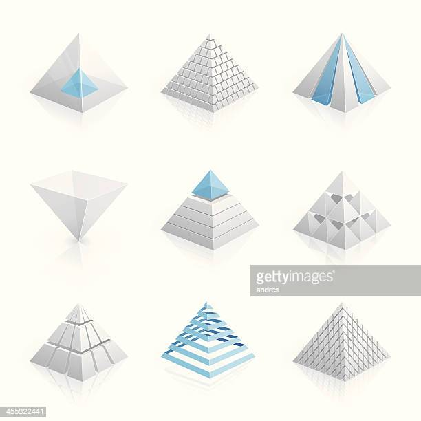 3D pyramid models in white and blue