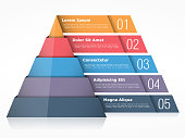 Pyramid chart with four elements, pyramid infographics template, vector eps10 illustration
