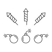 Pyrotechnic icons set. Festival dynamite fireworks with sparks