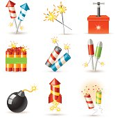 Set of 9 glossy pyrotechnic icons.