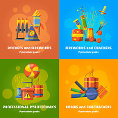 Pyrotechnics elements for party. Vector banners set firecracker and pyrotechnic fireworks colourful illustration