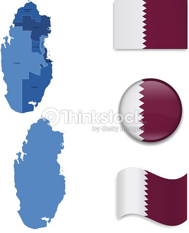 Qatar Map And Flag Collection Vector Art | Thinkstock