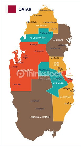 Qatar Map And Flag Detailed Vector Illustration stock vector ...