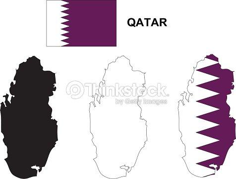 Qatar Map Vector Qatar Flag Vector Isolated Qatar stock vector ...