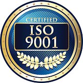 ISO 9001 quality management systems gold label with a laurel wreath.