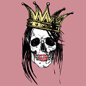 Queen of death. Portrait of a skull with a crown and long hair. Raster hand drawn rock illustration for your fashion design.