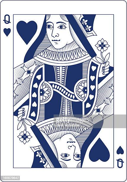 Queen of Hearts playing card in blue