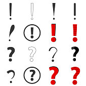 Question and exclamation marks. Flat design, vector illustration, vector.