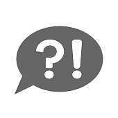 Question mark and exclamation point in speech bubble. Answer and question button. Vector icon.