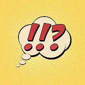 Questions exclamation marks comic text Pop art style. Color comics book. Cartoon vector  illustration.