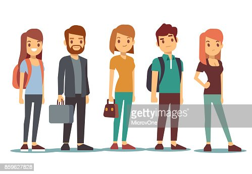 Queue of young people. Waiting women and men standing in line. Vector illustration : stock vector