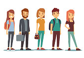 Queue of young people. Waiting women and men standing in line. Queue wait woman and man. Vector illustration