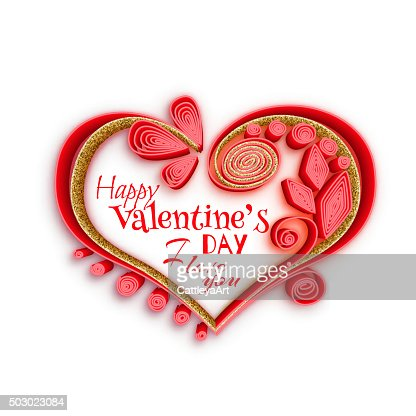 Quilling Paper Heart Vector Illustration Happy Valentine Day Card
