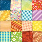 Quilt Patchwork Texture. Funky Textile. Seamless Vector Pattern